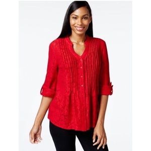 Style and Co. Pin-tucked Button-Front Lace Blouse